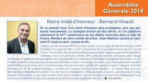 Bernard Hinault honorera notre AG de sa présence le 24novembre.