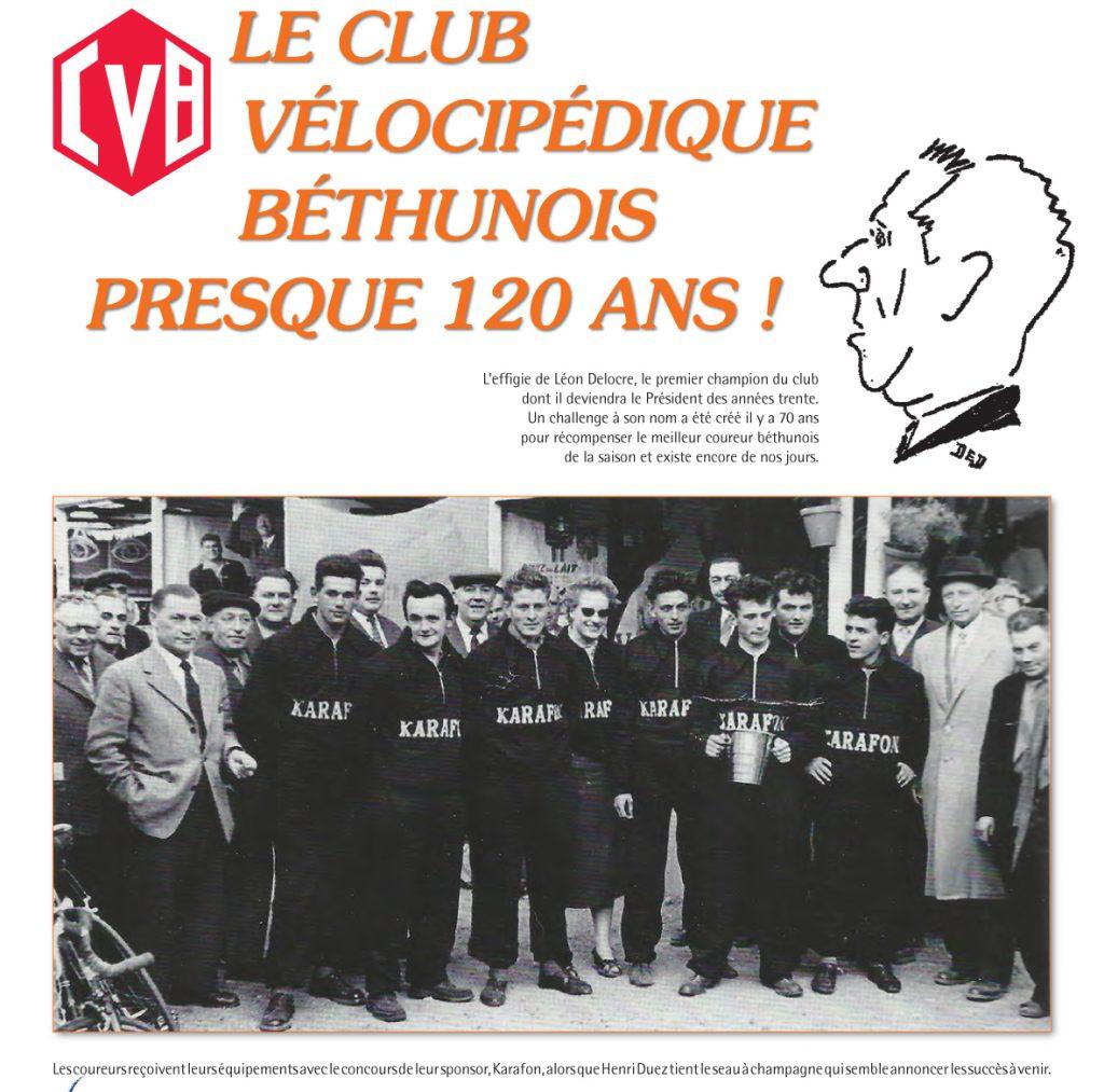 Première page de l'article consacré au club vélocipédique béthunois.