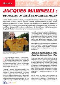 Jacques Marinelli présente le maillot jaune qu'il a porté six étapes durant le Tour de France 1949.