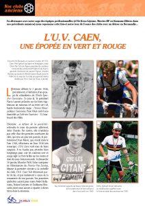 Première page de la rubrique «Nos clubs anciens» rend hommage à L'UV Caen.