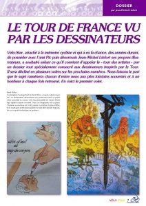 Première page de l'article consacré aux dessinateurs ayant illustré le Tour de France au cours des ans.